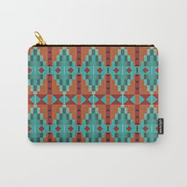 Bright Orange Red Aqua Turquoise Teal Rustic Native American Indian Mosaic Pattern Carry-All Pouch