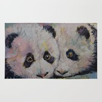 pandas Area & Throw Rugs featuring Baby Pandas by Michael Creese