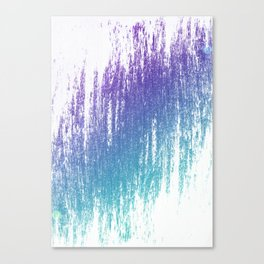 Soft Rain Style Abstract Teal and Purple Canvas Print