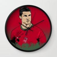 ronaldo Wall Clocks featuring Cristiano Ronaldo by J Maldonado