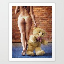 Lingerie and Teddy bear Art Print