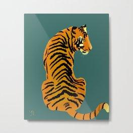 Tiger (green background) Metal Print