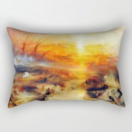 "J. M. W. Turner ""Slavers Throwing overboard the Dead and Dying, Typhon coming on - The slave ship"" Rectangular Pillow"