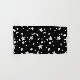 Linocut black and white stars outer space astronauts minimal Hand & Bath Towel