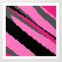Pink black and gray zigzag Art Print