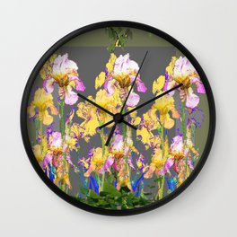 SPRING IRIS GARDEN FLORAL & IVY PATTERN DESIGN Wall Clock
