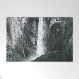 Bridalveil Falls. Yosemite California in Black and White Welcome Mat