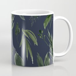 Winter Leaf Pattern 2 (Navy) Coffee Mug