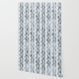 Simply Braided Chevron Indigo Blue on Lunar Gray Wallpaper