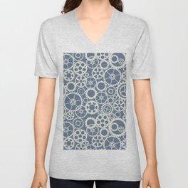 Blue and White Hypnotic Circle Pattern Unisex V-Neck