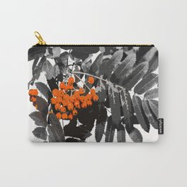 Red Rowan Berries In Black And White Background #decor #society6 Carry-All Pouch