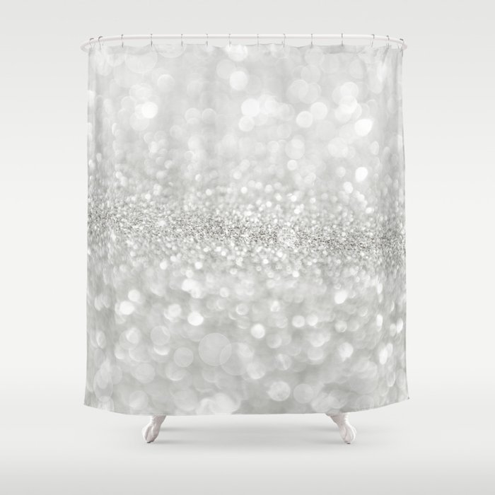 White Shiny Texture Shower Curtain By Cafelab Society6