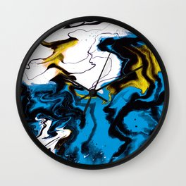 Dreamscape 01 in Blue, White & Gold Wall Clock
