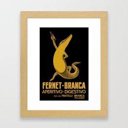 Alligator with Drink, Fernet-Branca, Italian Beverage Advertisement Framed Art Print