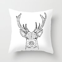 stag Throw Pillows featuring STAG by ALFIE creative design