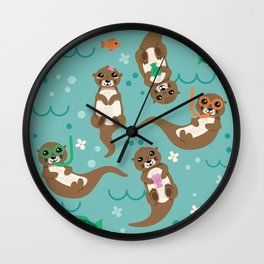 Kawaii Otters Playing Underwater Wall Clock