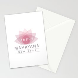Mahayana- One of the branches of Buddhism- Buddhist New year wishes with pink sacred lotus Stationery Cards
