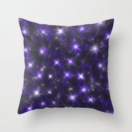 Ultra Violet Stars in a Purple Galaxy Throw Pillow