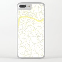 London White on Yellow Street Map Clear iPhone Case