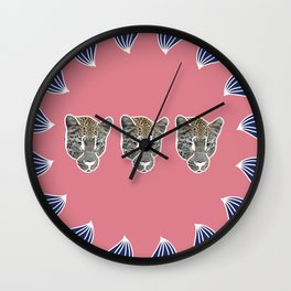 pink leopards Wall Clock