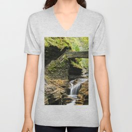 Photo New York City USA Watkins Glen State Park Nature Bridges stairway Waterfalls park bridge Stairs staircase Parks Unisex V-Neck