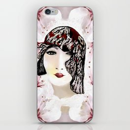 Floral 40's Queen on White,Burgundy and Black iPhone Skin