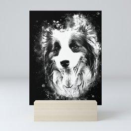 border collie shepherd dog splatter watercolor white Mini Art Print