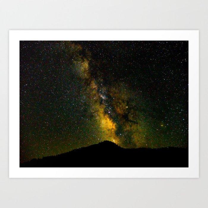 Beautiful Yellow Milky way Galaxy At Night Stars Sky Landscape Photography Art Print