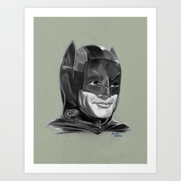 Adam West Caped Crusader (Black and White) Art Print
