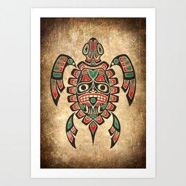 Vintage Red and Green Haida Spirit Sea Turtle Art Print