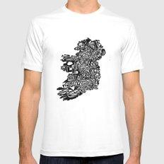 Typographic Ireland White MEDIUM Mens Fitted Tee