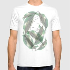 Leaves White MEDIUM Mens Fitted Tee
