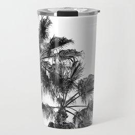 B&W Palm Tree Print   Black and White Summer Sky Beach Surfing Photography Art Travel Mug