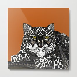snow leopard orange Metal Print