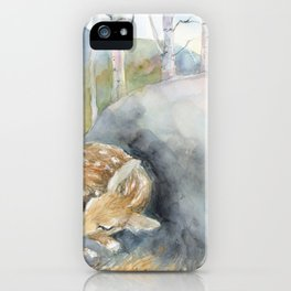 On the Stone, Fawn sleeping on stone iPhone Case