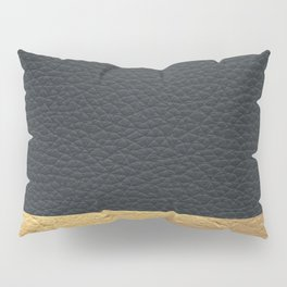 Color Blocked Gold & Leather Pillow Sham