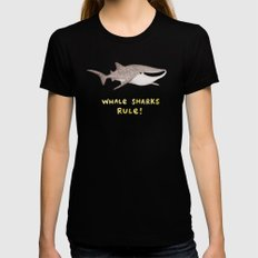 Whale Sharks Rule! SMALL Womens Fitted Tee Black