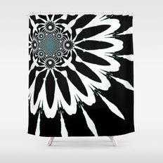 Flower Shower Curtains Society - Black and white flower shower curtain