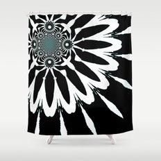 The Modern Flower Black White Blue Shower Curtain