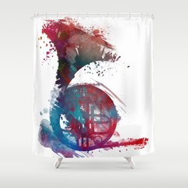 French horn #frenchhorn #music #art Shower Curtain
