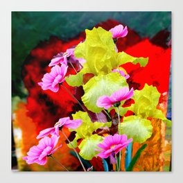 MODERN ABSTRACT YELLOW IRIS & PINK FLOWERS FLORAL Canvas Print