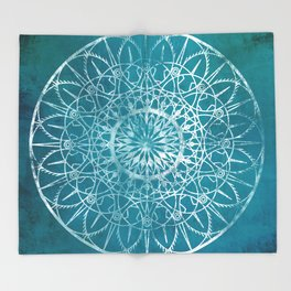 Fire Blossom - Teal Throw Blanket