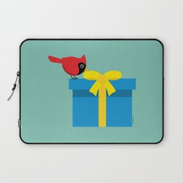 Cute Red Cardinal Opening Blue Gift Laptop Sleeve