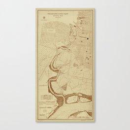 Map of Philadelphia 1892 Canvas Print