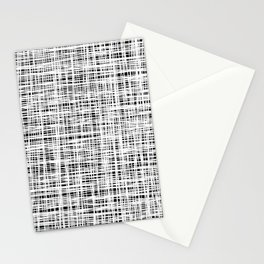 Hand drawn Lines Pattern-White on Black - Mix & Match with Simplicity of life Stationery Cards