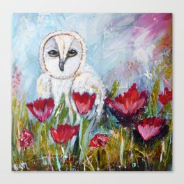Owl in Poppies Canvas Print