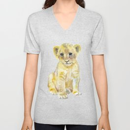 Lion Cub Watercolor Unisex V-Neck