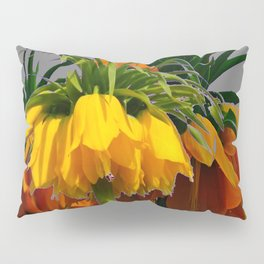YELLOW CROWN IMPERIAL WATERCOLOR  FLOWERS Pillow Sham
