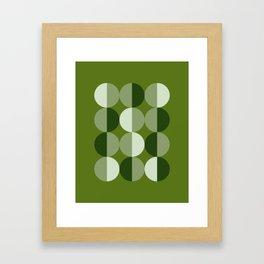 Retro circles grid green Framed Art Print