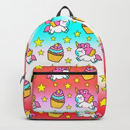 Cute funny Kawaii chibi pink little playful baby unicorns, happy sweet colorful yummy cupcakes and golden stars pretty green and blue red rainbow pattern design. Nursery decor. Backpack